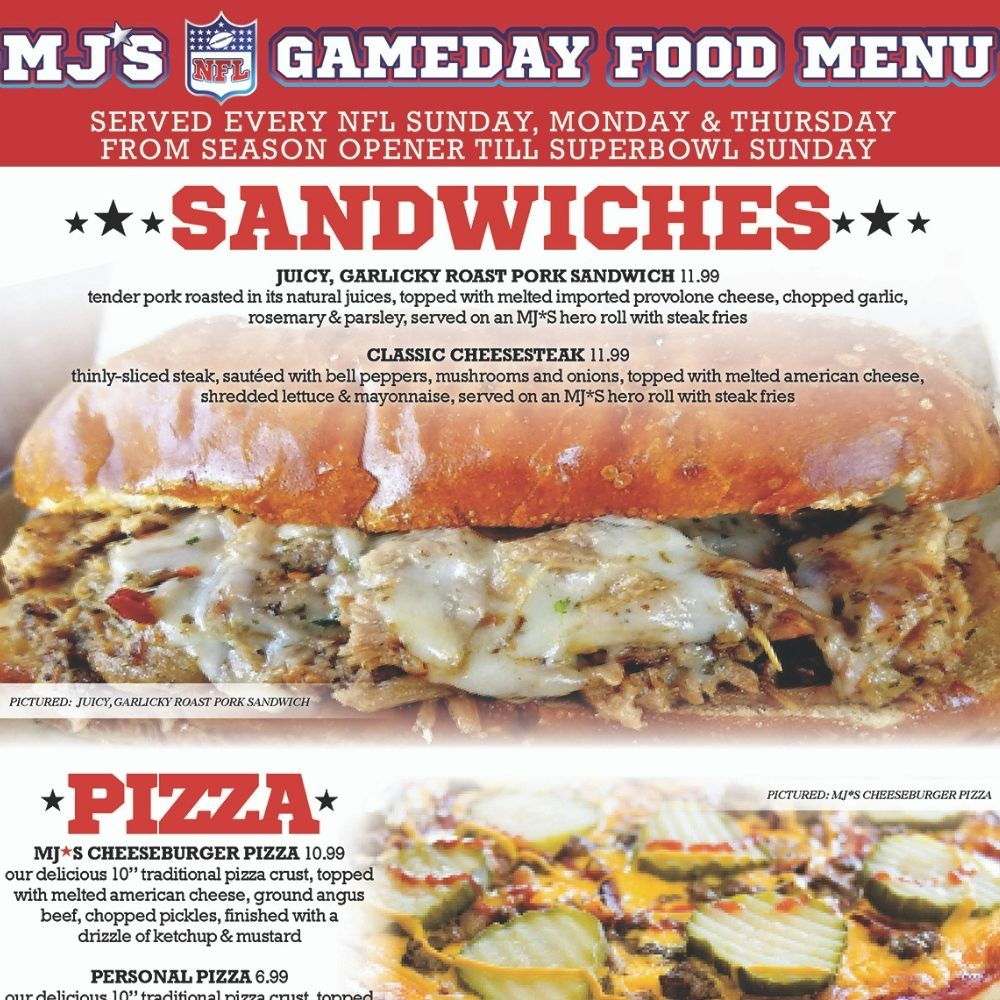 MJ's Game Day Food Menu! Every Sun, Mon and Thurs!
