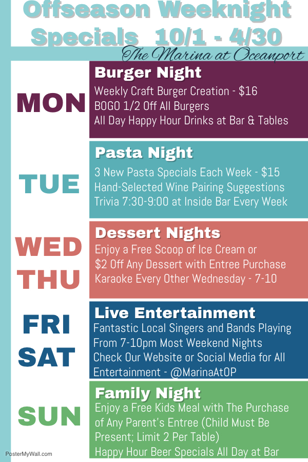 New Offseason Weeknight Specials!