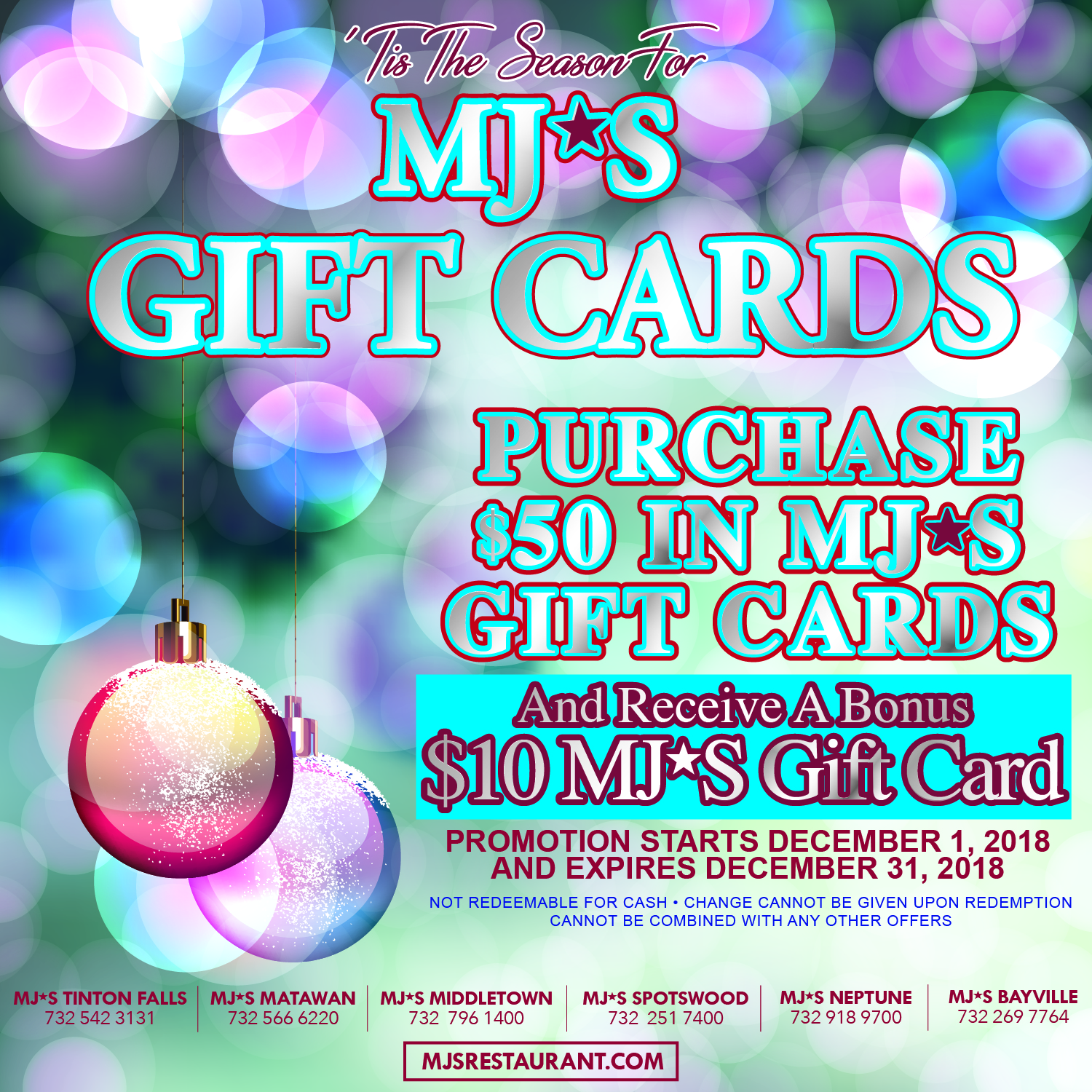 MJ's Gift Cards for Purchase