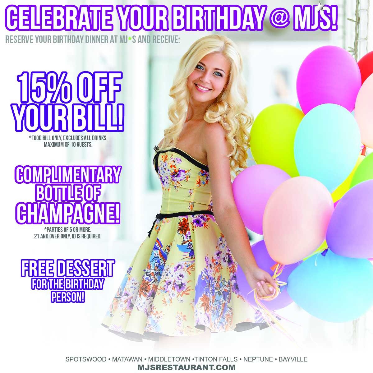Celebrate your birthday at MJ's!