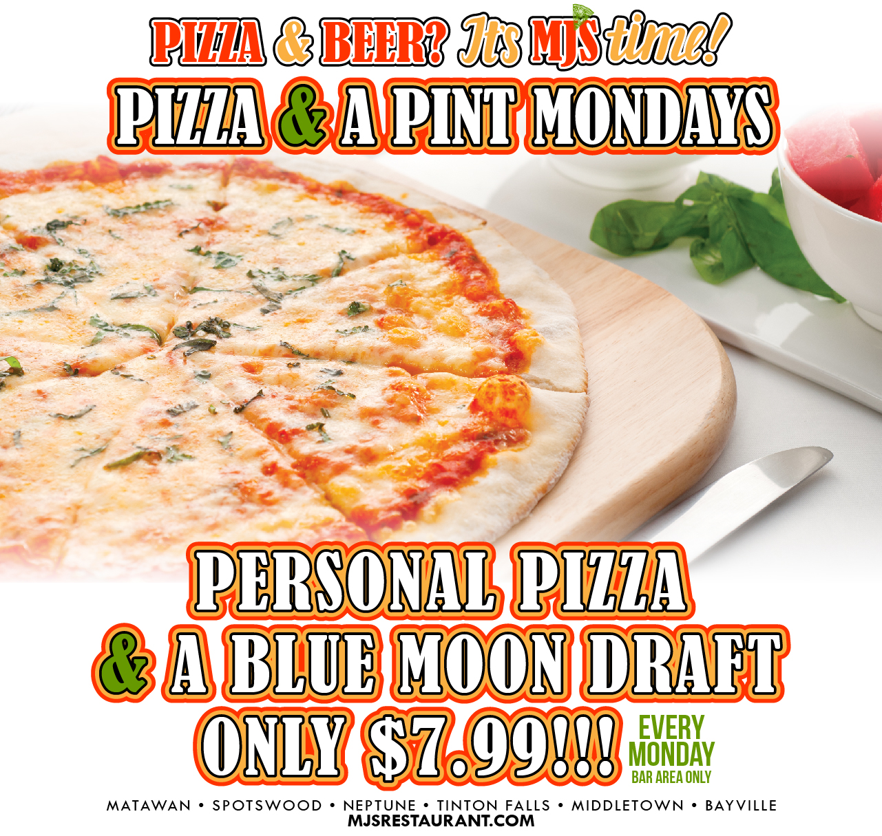 Pizza and a Pint Mondays at MJ's