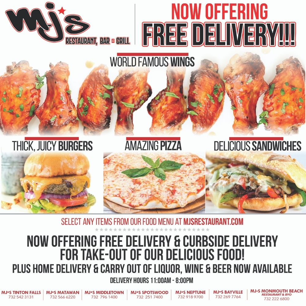 MJ's is now offering free delivery and take-out!