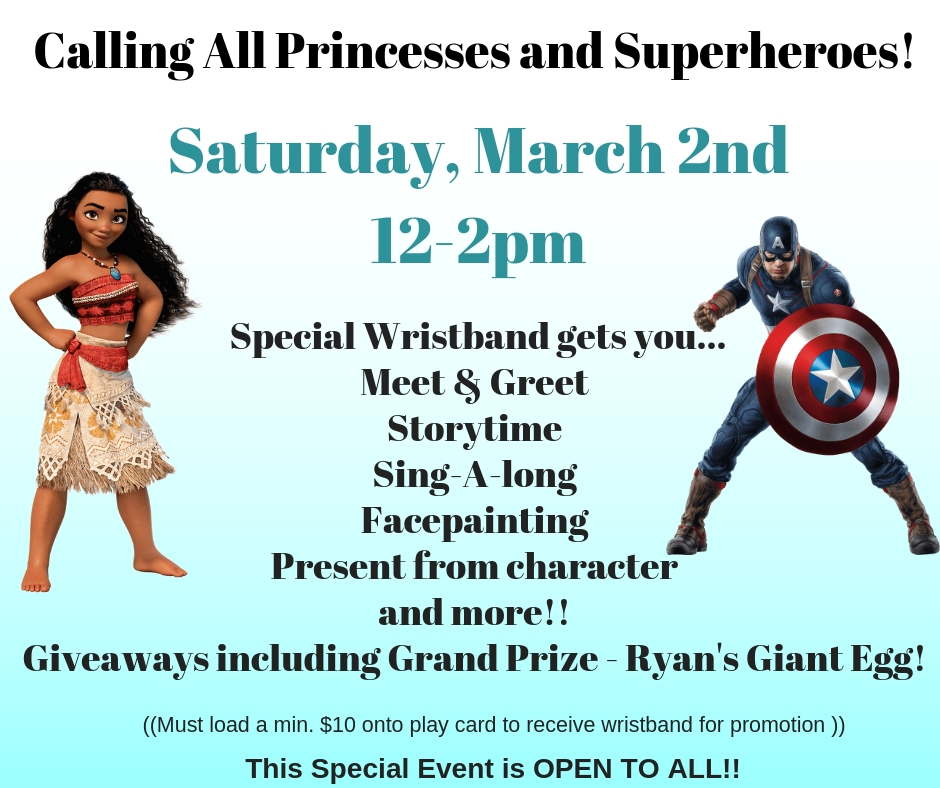 March 2nd: Princess and Super Hero Party