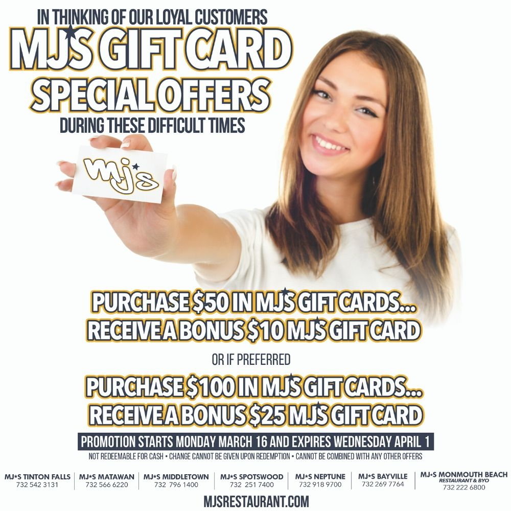 MJ's Gift Card Special Offers!