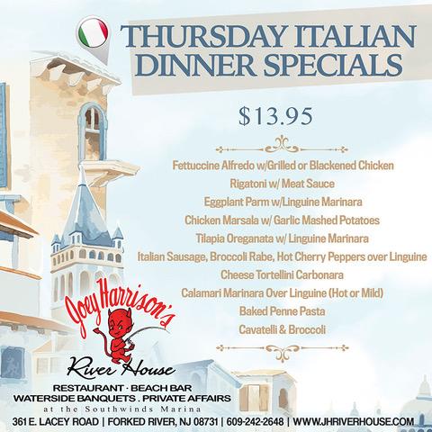 Every Thursday: Italian Specials Menu & Open Mic