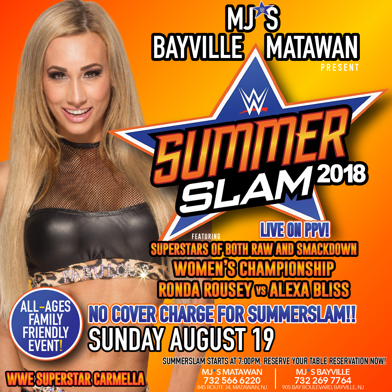 Summerslam LIVE at MJ's!