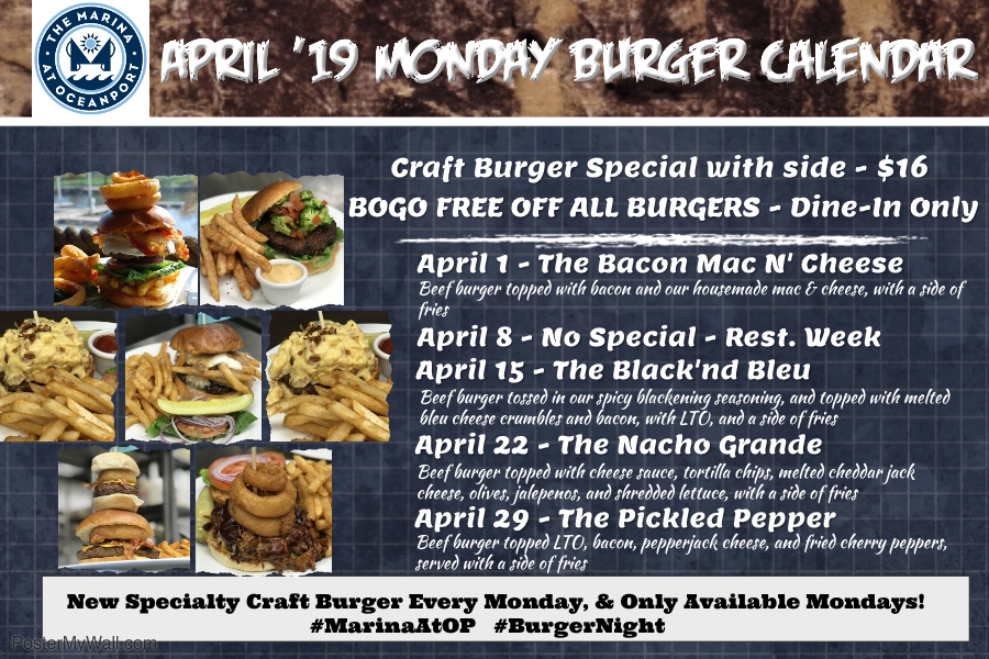 Burger Mondays at the Marina