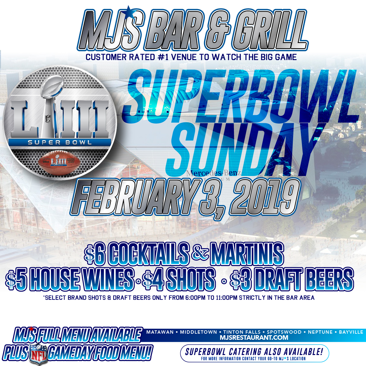 Superbowl Sunday at MJ'S!