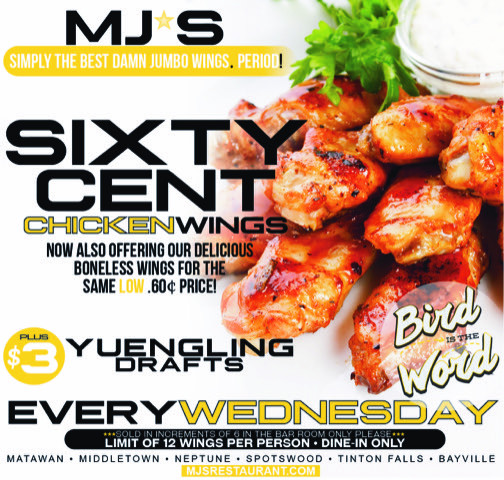 Sixty cent chicken wings every Wednesday!