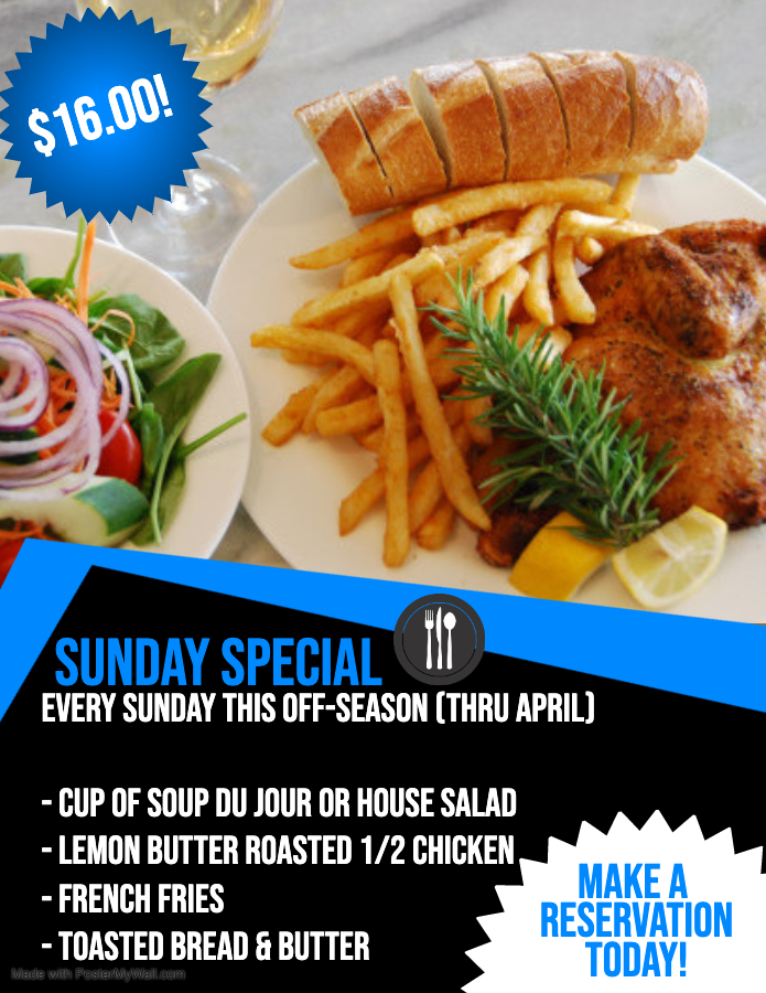 Sunday Special- Chicken Dinner Only $16
